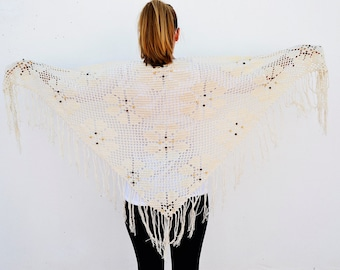 vintage cotton shawl. handmade . crochet