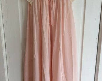 "Swwet Pink Vintage Lace Sleeve Short Nightie Gilead S/38"""