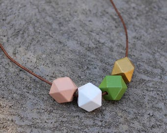 Geometric Wood Necklace // Peach Greenery Faceted Wooden Bead Necklace // Hand Painted // Hedron Necklace - Peach, Green, Gold