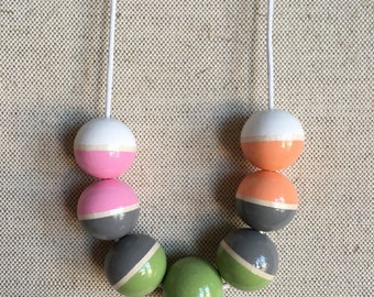 Hand Painted Wooden Bead Necklace - Touch of Spring