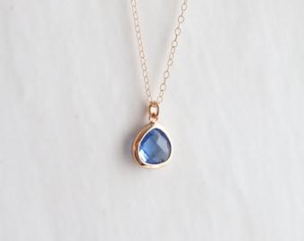 Blue Quartz Necklace - Necklace - Gold Necklace - Stone Necklace - Birthstone Necklace - Pendant Necklace - Quartz Stone Necklace