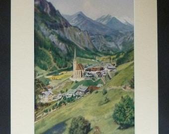 1920s Antique Austrian Print of Church of St Vincent, Available Framed Austria Art Heiligenblut am Großglockner Picture Holy Blood of Christ