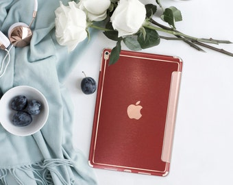 Platinum Edition Brushed Red with Rose Gold Detailing Hybrid Smart Cover Hard Case for the iPad Air 2, iPad mini 4 , iPad Pro