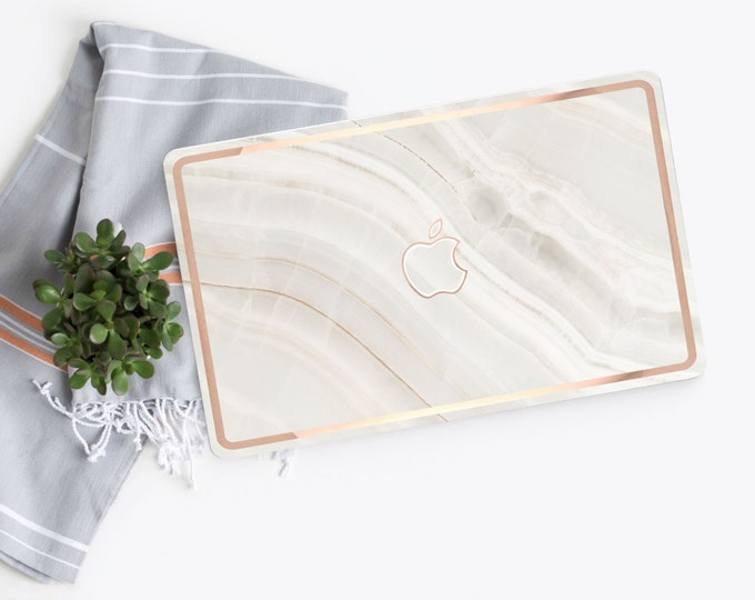 Featured listing image: Platinum Edition White Marble Stone with Rose Gold Edge Detailing Hybrid Hard Case for Apple Macbook Air & Mac Pro 13 Retina
