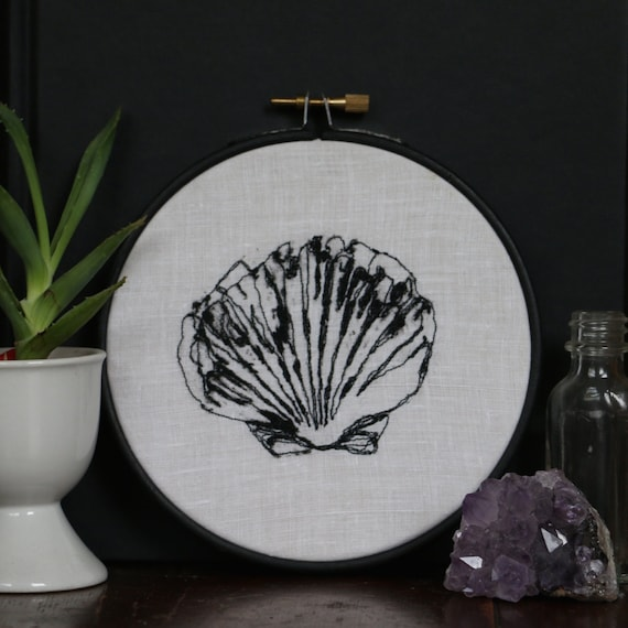 Shell embroidery in black hoop 5 inches