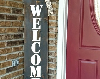 Large Wood Vertical Outdoor Welcome Sign for Front Door Porch Wedding Porch Decor & Front porch decor | Etsy Pezcame.Com