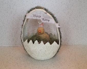 HTF Paper Mache Easter Egg Basket with Peep