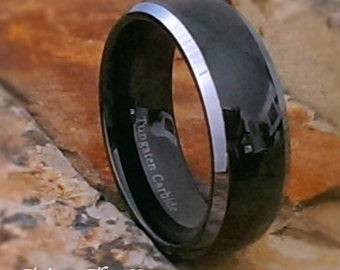 8mm Mens Tungsten Carbide Black Dome with Silver Edges High Gloss Finish Comfort Fit Personalized Mans Wedding Band - Size 7 - 15 AZ27