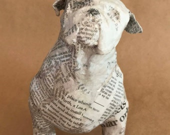 English Bulldog, Unique Whimsical Paper Mache Dog Sculpture - Custom Pieces Available Upon Request