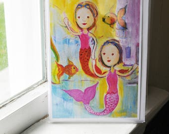 Mermaid Cards - 5x7 - Mermaid Swimmers Cards -  Blank Inside