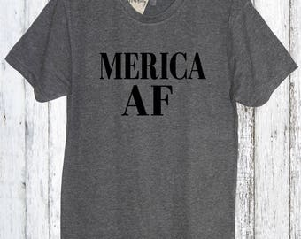 Merica AF Crew Neck, America, Fourth of July, Memorial day, 4th of July, American Flag, Summer Tank Top, Beaches, Pool, American, Lake