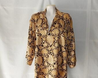 Sz 2X 3X Natori Blouse or PJ - Plus Size - 80s - Lounging PJ Pajama - Floral Gold Black White - 3/4 Sleeve - Liquid Satin - Pullover