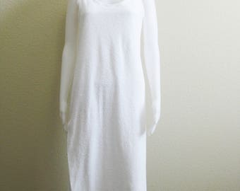 White Terry Cloth Coverup - Poolside Cover Up Small Full Length - Neiman Marcus