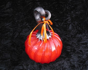 Small Red Hand Blown Glass Pumpkin R109