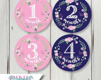 Floral Wreath Monthly Baby Milestone Stickers – Pink & Navy Baby Girl Bodysuit Months 1-12, 13-24 Just Born + other colors available