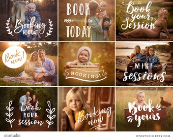 Photography Overlays - Booking Now Overlays, Mini Sessions, Book Session, Marketing Template  - PNG files - INSTANT DOWNLOAD