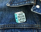 Enamel Pin - Bookworm for her  Reading Enamel Pin  Book Brooch  best friend gift for her  blue lapel pin  Hennel Paper Co PIN7