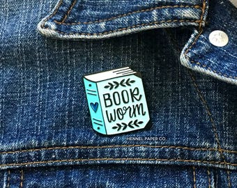 Enamel Pin - Bookworm for her - Reading Enamel Pin - Book Brooch - best friend gift for her - blue lapel pin - Hennel Paper Co PIN7