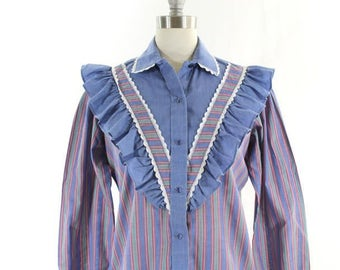 1980s western shirt • ruffled blouse • blue striped shirt • pearl snap button down • Kenny Rogers western wear • cowgirl shirt M
