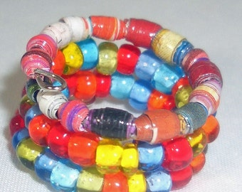 Micro Multi Colors Paper Bead Wrap Finger Ring -- Size 5