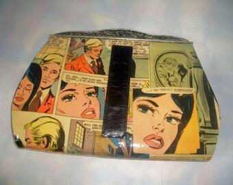 Comic Book Romance Upcycled Clutch Handbag Purse