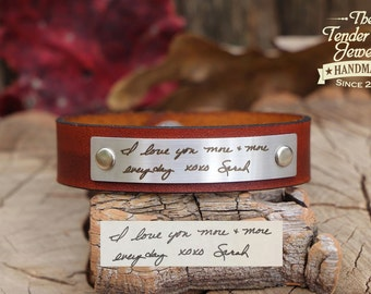 Custom Handwriting Engraved Personalized Leather Bracelet Leather cuff Handwriting Bracelet Brown Leather Bracelet Color Options Available
