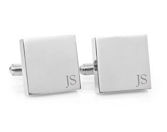 Minimalist Monogram - Engraved personalized square silver cufflinks - Groom, Valentine gift (stainless steel personalised cufflinks)
