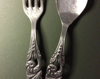 Mid Century Vintage Ornate Tinn Pewter Salad Serving Set from Holland