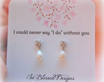 Pearl bridesmaid earrings, Vintage wedding, Bridesmaid Gifts, Bridesmaid jewelry, bridal jewelry, mother of the bride, bridal party gifts