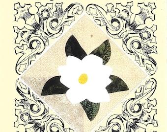 Vintage magnolia leaves | Etsy : magnolia quilt pattern - Adamdwight.com