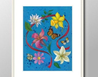 Flowers, red bow -Illustration Art Print  from original acrylic painting, A4 (297 x 210mm), (11.7 x 8.3 in)
