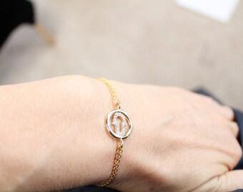 Hamsa Hand Bracelet, Lucky Charm Bracelet, Gold Hamsa With Cubic Zirconia,