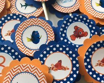 Nemo Cupcake Toppers, 12  Finding Nemo  Birthday Party Cupcake Toppers - Nemo Birthday Party Decorations, Finding Nemo Cupcake Toppers