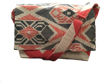 ON SALE Coral and Navy geometric camera bag with padded insert