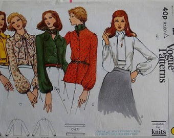 """Vintage 70's Vogue 8376 Shirt Blouse and Bow Tie Scarf 4 Options Sewing Pattern Bust 36"""" UK 14"""