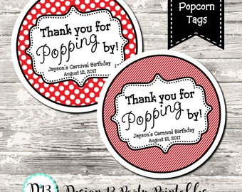 Thank You For Popping By Popcorn Label Favor Tags Circle Tags Printable Digital