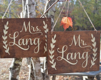 Mr and Mrs Wedding Chair Signs Set