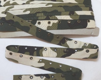 1 Inch Camouflage Eyelet Grommet Tape, Burnished Gold Eyes, 3/16 In. Eyelet Opening, BY the YARD, Lace-Up Garment, Steampunk, Lingerie, Trim