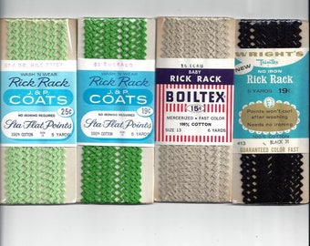1950s, 1960s Vintage Packaged Cotton Baby Rick Rack, 5 & 6 Yard Pkgs, Wrights, Boiltex, Nufashond, J P Coats, Vintage Packaged Sewing Trim