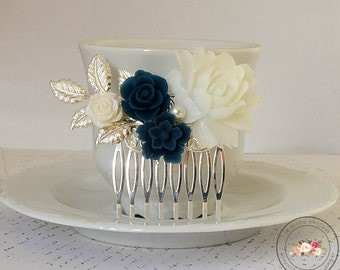 Bridal Hair comb Something blue Silver Navy Blue White Flowers vintage Antique Roses Leaves Hair accessory wedding hair accessory fascinator