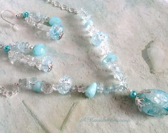 Handmade Beaded Necklace Aqua Beaded Pendant Necklace Quartz Jewelry Set Spring Jewelry Fashion Chip Jewelry Set Summer Wedding