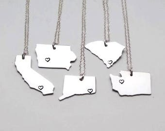 State Necklace - ANY City - Personalized Necklace - State Jewelry - State Charm