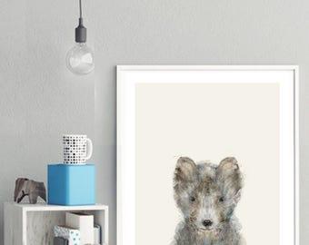 little grey wolf .baby animal portraits.nursery wall art.children's wall decor.nature wall art.little animals art. Giclee fine art prints .