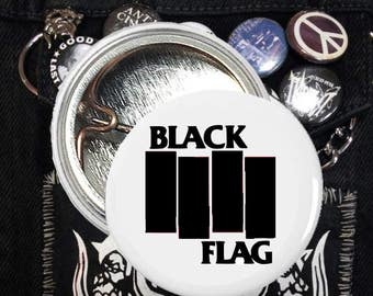 Black Flag Pin , Black Flag Button, Black Flag Pinback Button, Black Flag