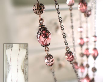 Long Beaded Necklace Made with Swarovski Crystals and Antiqued Copper Filigree - Layering 1920s Necklace - Custom Colors Available