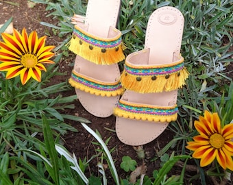"Greek Leather Sandals ""Chrysanthe"", Boho sandals, pom pom sandals, colorful hippie sandals, Gold Yellow sandals, women sandals shoes"