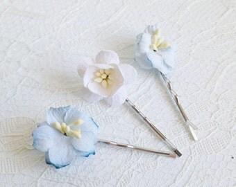 Flower Hair Pins, blue apple blossoms, white cherry blossom pins, wedding flower pins, bridal hair clips, blue flower clips, spring flowers