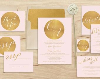 Pink Wedding Invitation Set Printable, blush pink Wedding Invitation, Modern Wedding Invitation suite, Gold Pink Wedding Invitation