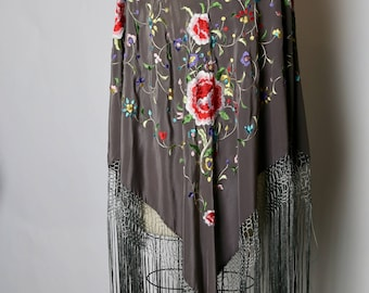 RESERVED on layaway payment 5: 1930's Floral Embroidered Shawl in Grey