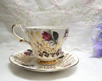 Vintage Queen Anne //Gilt// Floral // Bone China //Teacup and Saucer // Burgundy Moss Roses